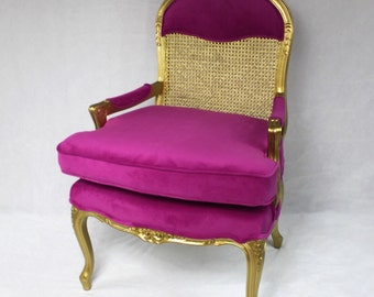 SOLD- Can Replicate Vintage French Cane Chair in Gold and Pink Velvet Fabric