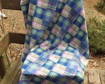 Blue, Pink and Purple Plaid Fleece Blanket - Lap Blanket, Toddler Bed Blanket