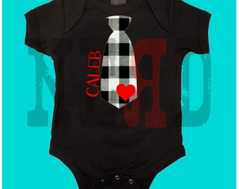 Valentine's Day tie heart funny baby bodysuit creeper or tee