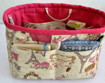 "bag organizer/pouch organizer/ Insert handbag organizer/purse organizer insert/ organizer flowers 10""Width x3.5""depthx7.5 halt"