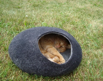 Cat bed/cat cave/cat house/Dark Gray with light Gray  felted cat cave/ any сolors (With GIFT cat toy)