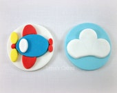 Airplane Party Fondant Cupcake Toppers, Boy Birthday Topper Edible Toppers, Travel Party Decor, Boy Cupcake Toppers, Transportation Party