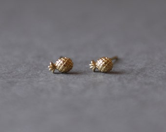 Gold Tiny Mini Pineapple Stud Earrings - Gold plated over Sterling Silver [GE1019]