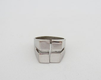 Antique Signed ESPO Sterling silver Adjustable Square Dome Ring Size 6.75