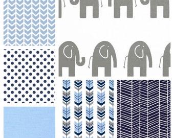 Elephant Baby Boy Crib Bedding - Sheet, Patchwork Blanket & Crib Skirt in Baby Blue, Navy and Grey