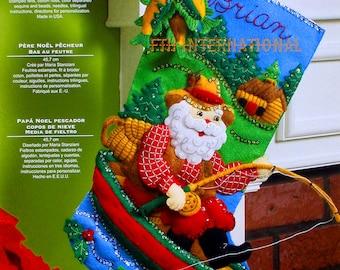 """Bucilla Fishing Santa ~ 18"""" Felt Christmas Stocking Kit #86139 Boat Cabin, Woods DIY"""