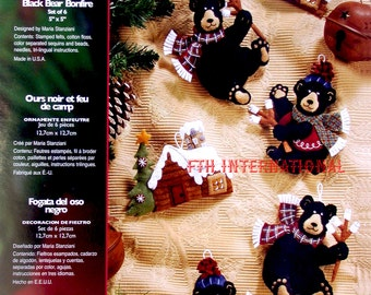 Bucilla Black Bear Bonfire ~ 6 pce. Felt Christmas Ornament Kit #85460 Log Cabin DIY