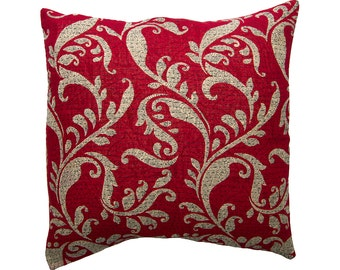 Kantha Cushion Cover - Red with off white design