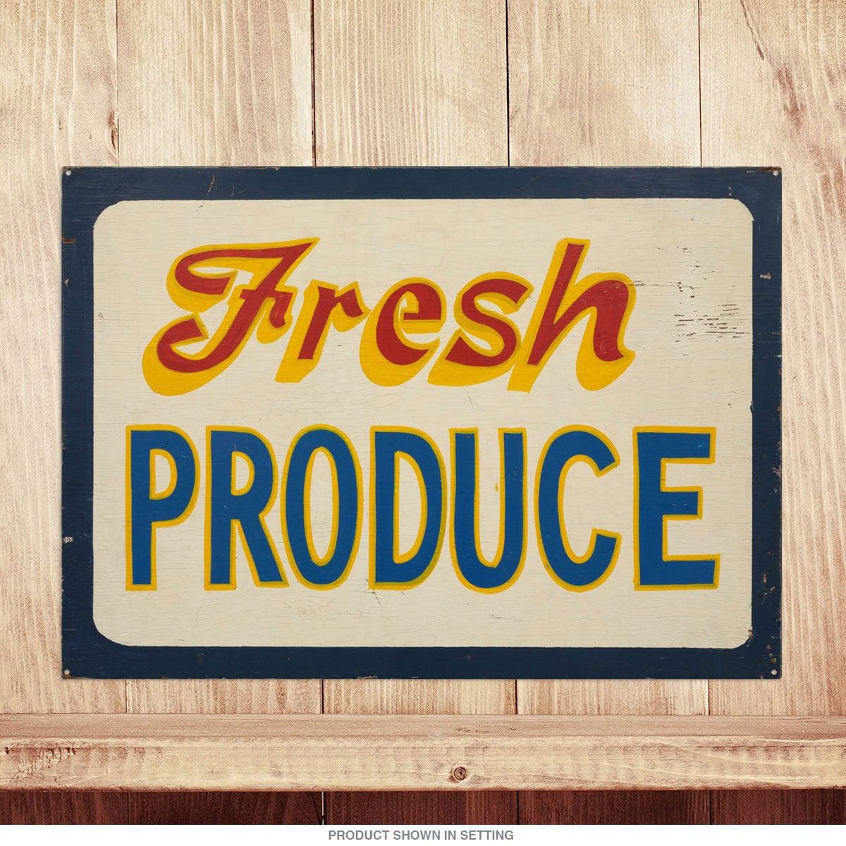Fresh Produce Vintage Kitchen Metal Sign 54096