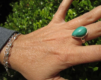 Malachite and Sterling Statement Ring Size 8.5