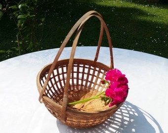 vintage french small hand woven wicker basket , Child wicker basket, Little Red Riding Hood basket