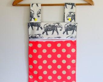 Peg Bag, Clothes Pin Bag, Peg Storage, Laundry Bag, - Grey Elephants on White, Neon pink, polka dots, Laundry Peg Holder