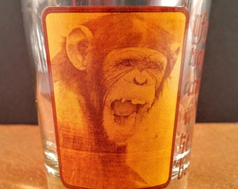 1970's Adult Humorous Low Ball Tumbler. C.M. Paula Co. with Chimpanzee Monkey. If You Decide to Give Up Alcohol. Gag Gift For Him. Man Cave.