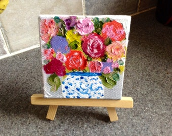 Aceo, mini oil original painting with easel