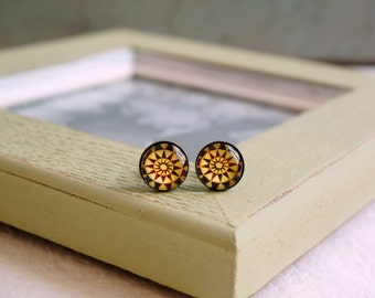 Modern chic Antiqued brass stud earrings Gift idea Glass Cabochon