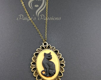 Black Cat Vintage Inspired Cameo necklace