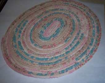100% Cotton fabric coiled placemat  Shabby Chic florals