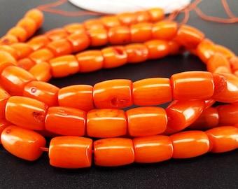 Full Strand Approx 43pcs 9x6mm Orange Coral Drum Beads