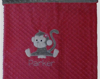 Personalized Baby Blanket, Monkey Baby Girl, Custom Minky Blanket