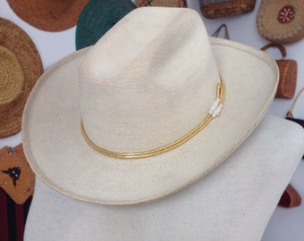 1960s Mexican White&Gold Western Hat. Size 7.