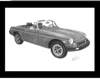 Car art pencil drawing  of a  1974 MGB