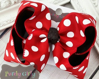 Red Polka Dot Hairbow Black Large Double Layer Bow Minnie Bow Exlarge