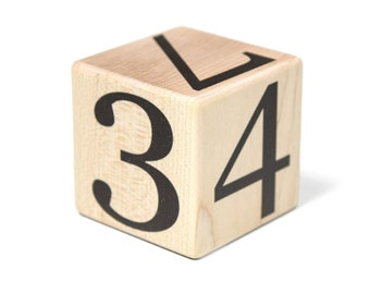 Expansion Block - For expanding to numbers 0-99 - Baby Age Blocks - Baby Milestone Blocks - Solid Hard White Maple