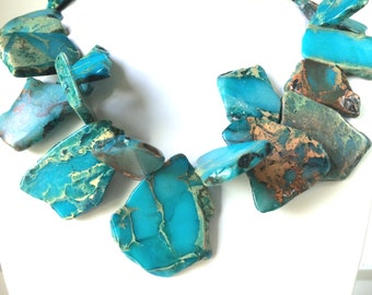 Turquoise Jasper Freeform Necklace,  Gold Vein Turquoise Jasper, Modern Jewlery, Statement Necklace