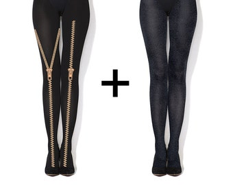 Multipack : hand printed tights + classic melange tights