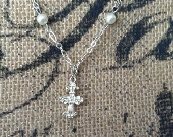 Cross and Pearl Silver Necklace