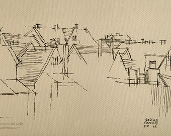 """Houses - roofs - Original Handmade Ink Drawing, Black ink on Paper, Size: 10""""x7"""" (27x18cm)"""