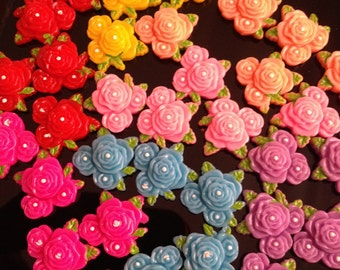 Flatback Rose Flower Cabachon - 10 pcs