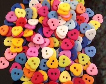 100 pcs Heart Love buttons