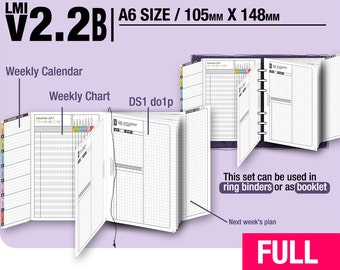 FULL [A6 v2.2b w ds1 do1p] January to December 2018 - Filofax Inserts Refills Printable Binder Planner Midori.