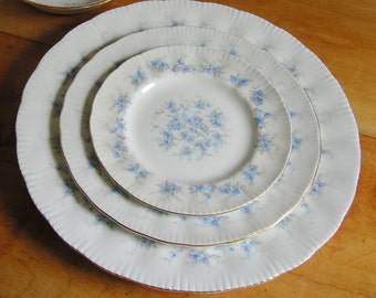 Vintage 3 Piece Place Setting Plates in Paragon PETIT FLEURS Dinner Salad or Luncheon Bread and Butter or Dessert Plates