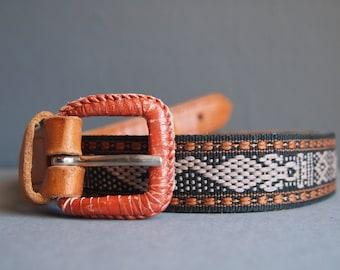 Leather and fabric belt - texile belt - aztec belt - tribal belt - southwestern belt - woven belt - Moroccan belt - boho - vintage belt