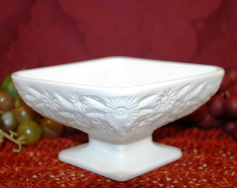 "Indiana Glass (3"" X 6"") Diamond Shape Compote in Pineapple & Floral-Milk Glass"