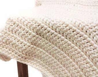 Crochet Heavy Winter Blanket, Ecru Baby Blanket, Newborn Blanket, Thermal Baby Blanket, Off White, Baby Girl, Baby Boy, Fall Baby