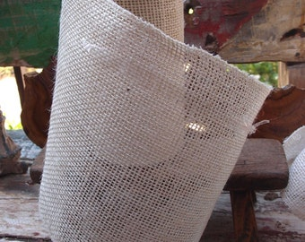 "9"" White Burlap Ribbon - 10 Yards"