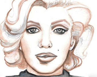 Marilyn Monroe Painting Original Gouache on Watercolor Paper, MATTED