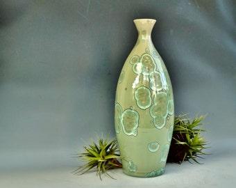 """Ceramic Vase, Crystalline Glaze Pottery, Large Handmade Green Bottle, 12"""" Tall"""