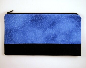 Color Block Blue Black Zipper Pouch, Make Up Pouch, Gadget Bag, Pencil Case