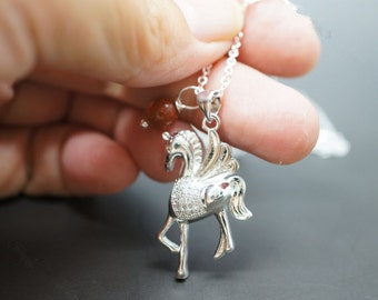 Sterling Silver Pony Necklace , Tiny Horse Pendant in Sterling Silver Horse Necklace - Daughter Gift - Son Gift- Children Necklace Jewelry
