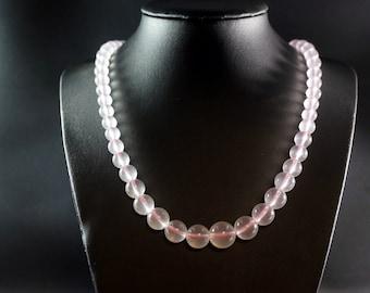 Natural Iced Rose Quartz Necklace, Statement Necklace, Genuine Quartz Necklace - Rose Quartz Jewelry Wedding Jewelry