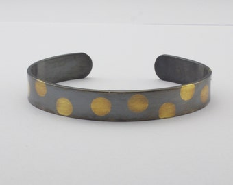 Sterling Silver and Gold Cuff Bracelet - Oxidized Keum Boo Bracelet - Polka Dot Cuff Bracelet - Modern Artisan Jewelry - Womans Cuff