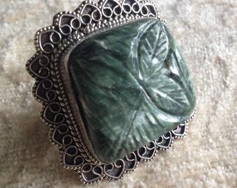 Vintage Carved Seraphinite Ring - Seraphinite Ring - Seraphinite Statement Ring - Seraphinite Solitaire Ring - Seraphinite Band Ring