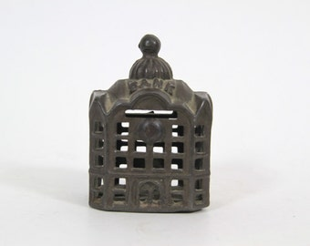 Vintage Cast Iron Bank Building Penny Coin Bank, AC Williams