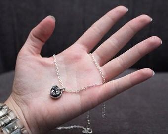 Petite Titanium Rainbow Druzy Necklace