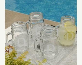 Personalized Mason Jar Set - Mason Jars - Monogram Jar Glasses