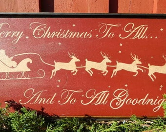 Primitive Merry Christmas To All Handmade Wood Sign